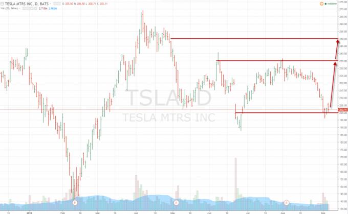 график акций Tasla