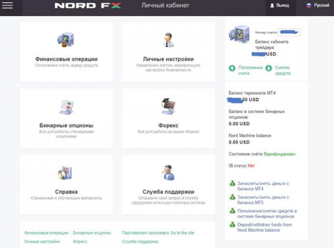 Стартовая страница личного кабинета Nord FX