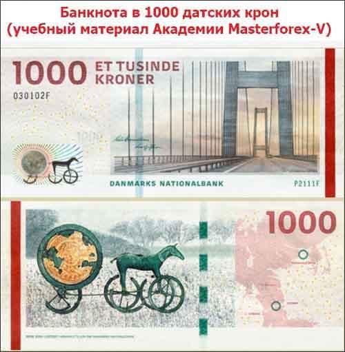 Купюра в 1000 датских крон