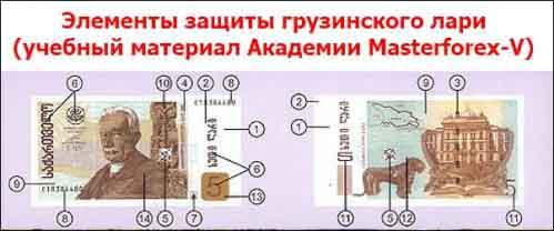 Элементы защиты грузинского лари