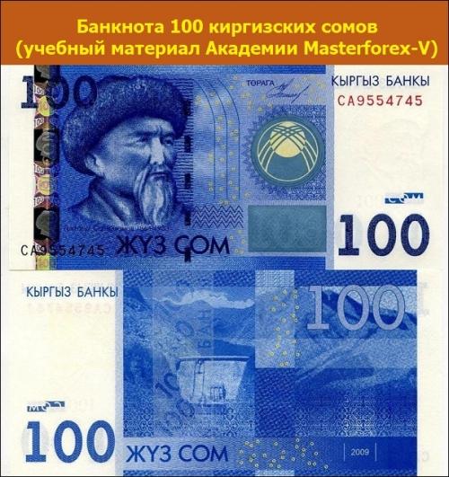 Банкнота 100 киргизских сомов