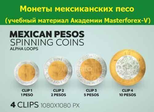 Монеты мексиканского песо