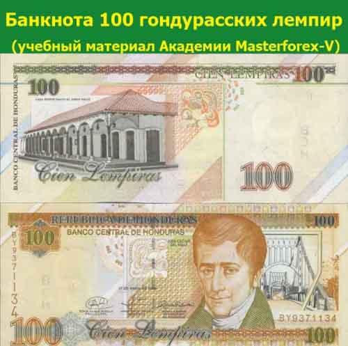 Банкнота 100 гондурасских лемпир
