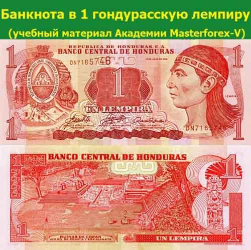Банкнота в 1 гондурасскую лемпиру