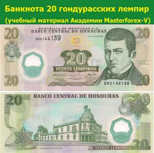 Банкнота 20 гондурасских лемпир