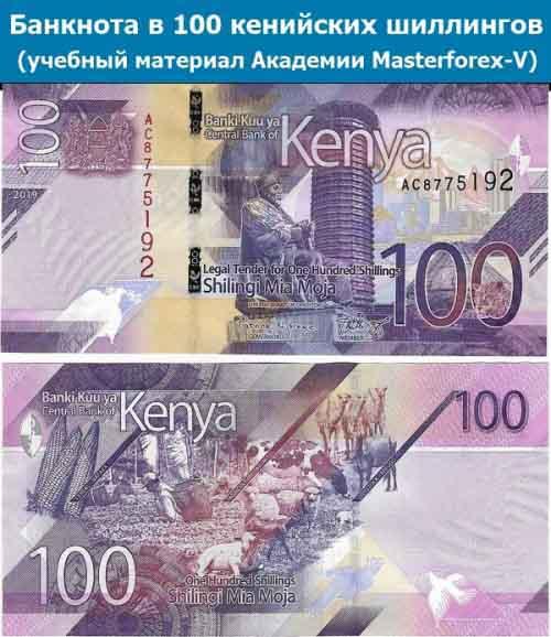 Купюра в 100 кенийских шиллингов