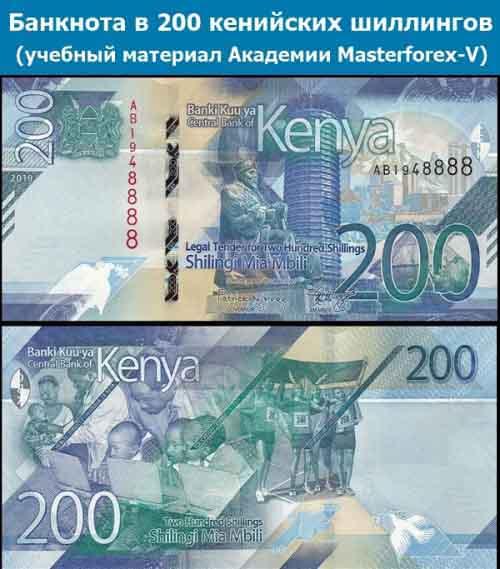 Купюра в 200 кенийских шиллингов