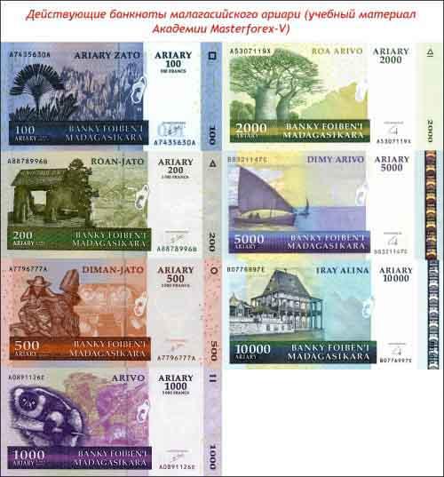 Банкноты малагасийского ариари