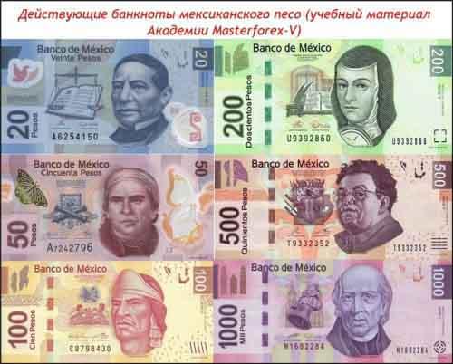 Действующие банкноты мексиканского песо
