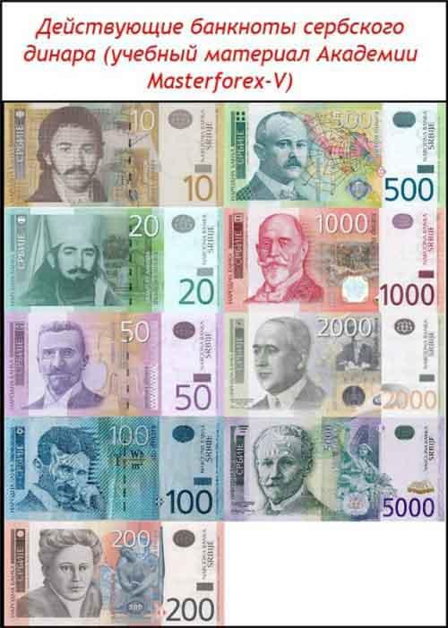 Банкноты сербского динара