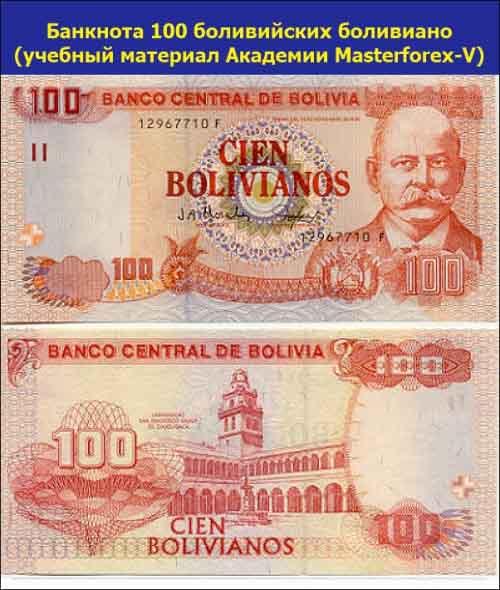 Банкнота 100 боливийских боливиано
