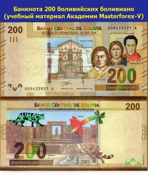 Банкнота 200 боливийских боливиано