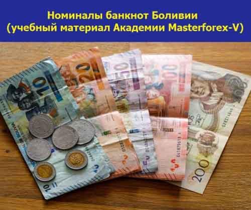Номиналы банкнот Боливииd