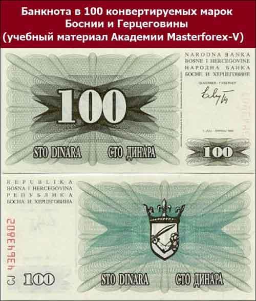 Банкнота в 100 конвертируемых марок Боснии и Герцеговины