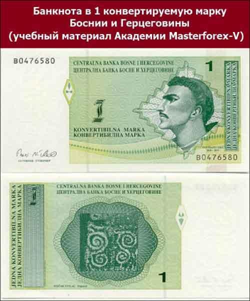 Банкнота в 1 конвертируемую марку Боснии и Герцеговины