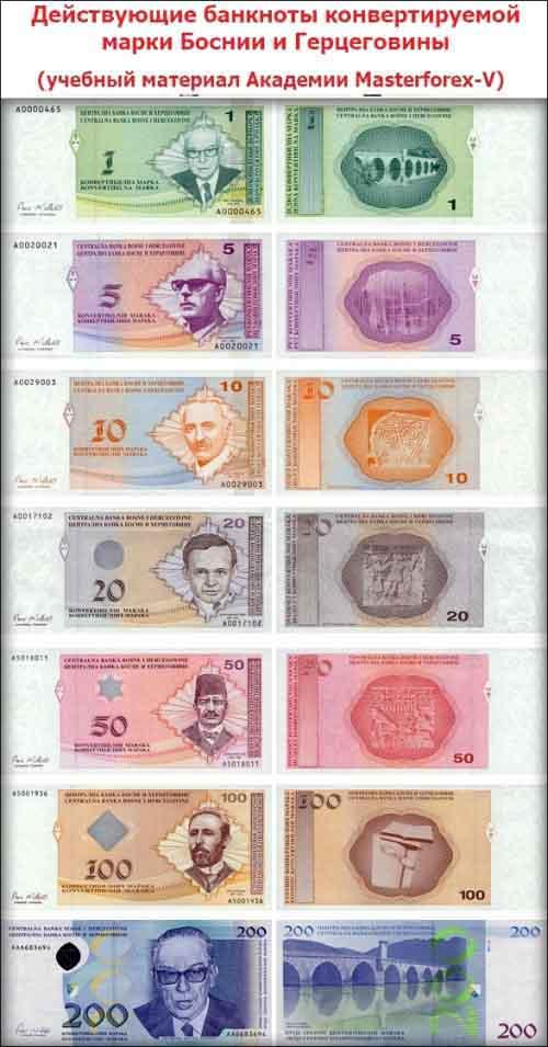 Номиналы банкнот Боснии и Герцеговины