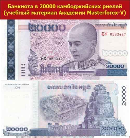 Банкнота в 20000 камбоджийских риелей