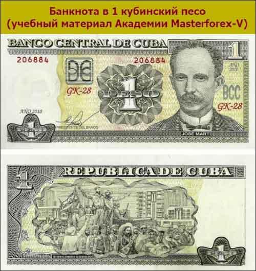 Банкнота в 1 кубинский песо