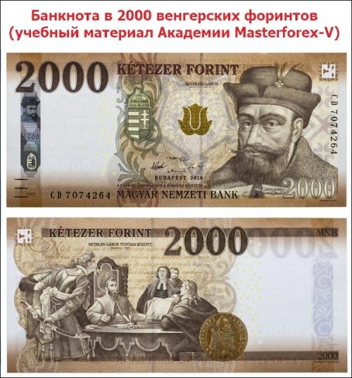 Купюра в 2000 венгерских форинтов