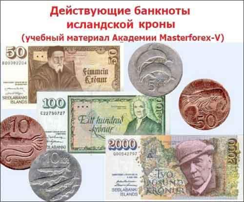 Номиналы банкнот Исландии