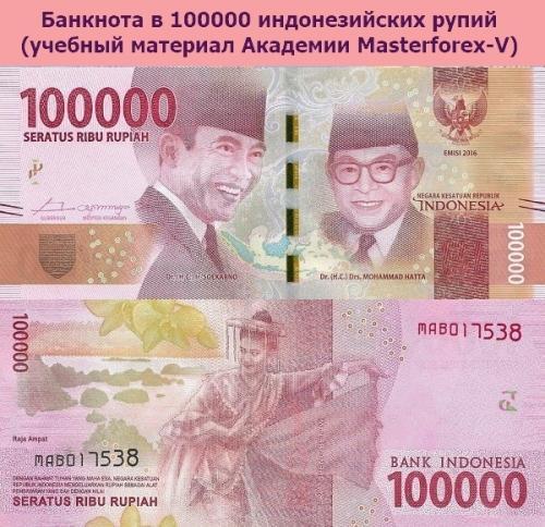 Банкнота в 100000 индонезийских рупий