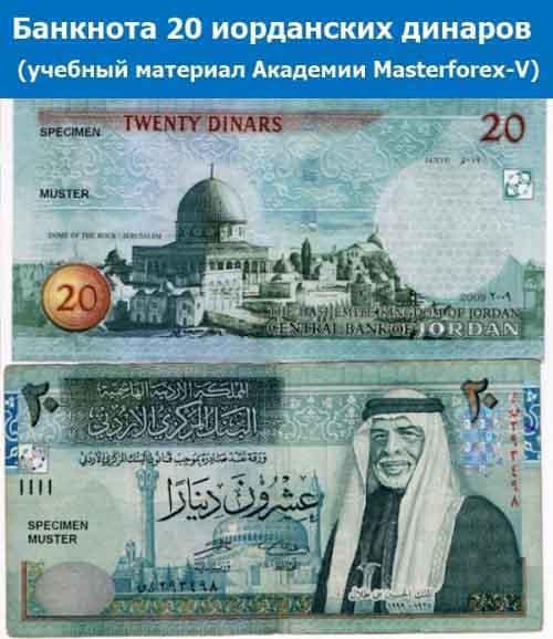 Банкнота 20 иорданских динаров