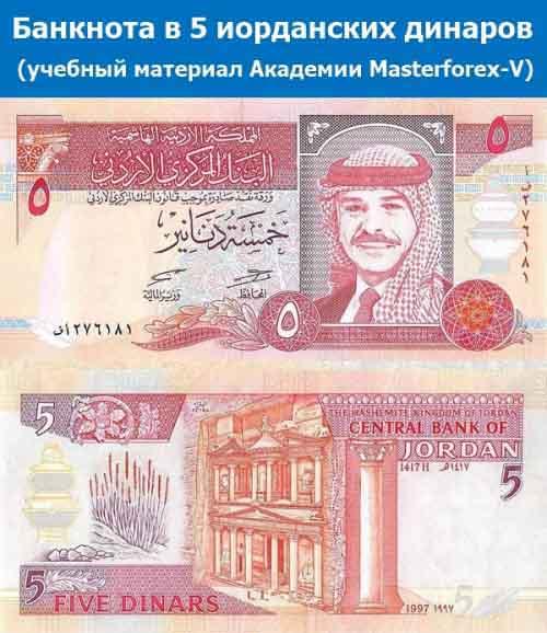 Банкнота 5 иорданских динаров