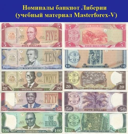 Номиналы банкнот Либерии