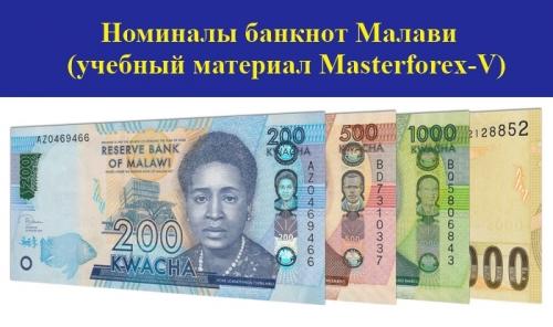 Номиналы банкнот Малави
