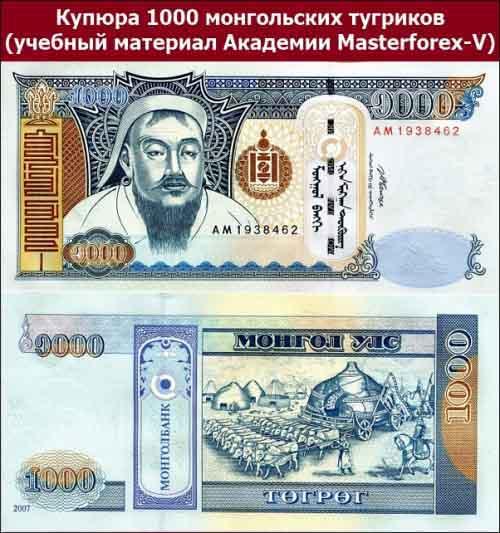 Купюра 1000 монгольских тугриков