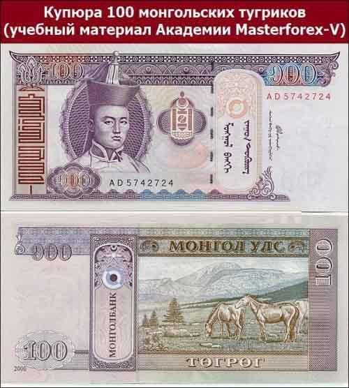 Купюра 100 монгольских тугриков