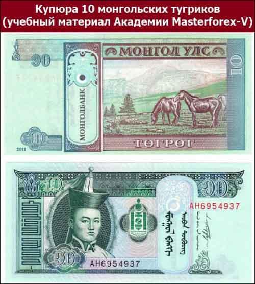 Купюра 10 монгольских тугриков