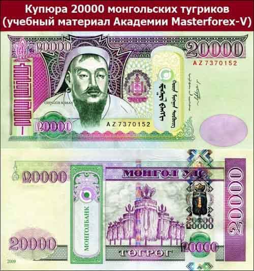 Купюра 20000 монгольских тугриков