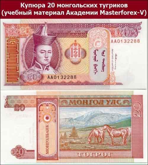 Купюра 20 монгольских тугриков