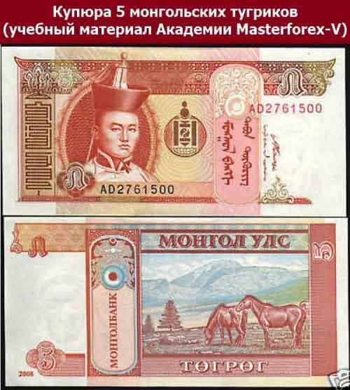 Купюра 5 монгольских тугриков