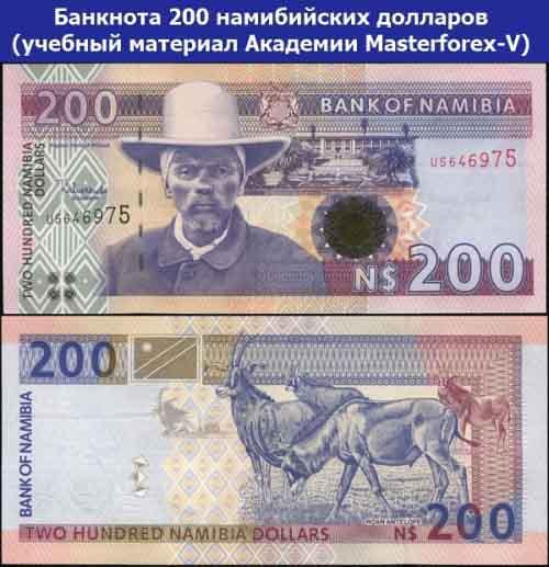 Банкнота 200 намибийских долларов