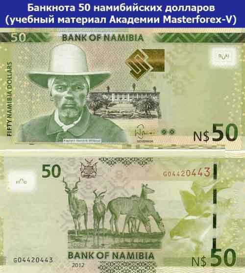 Банкнота 50 намибийских долларов