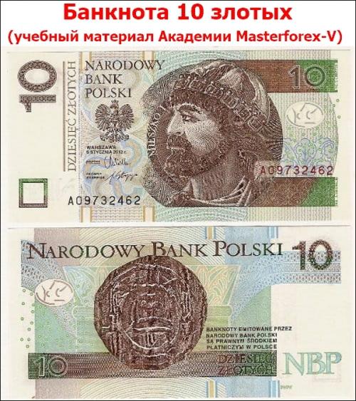 Банкнота 10 злотых