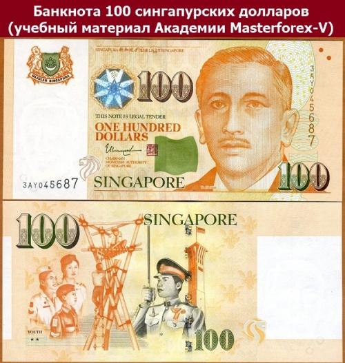 Банкнота 100 сингапурских долларов