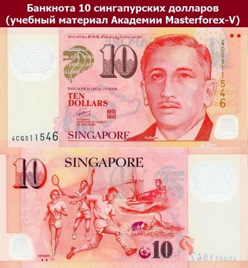 Банкнота 10 сингапурских долларов