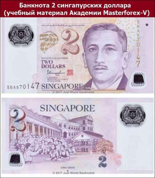 Банкнота 2 сингапурских доллара