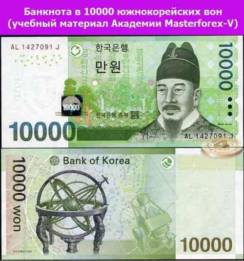 Банкнота 10000 южнокорейских вон