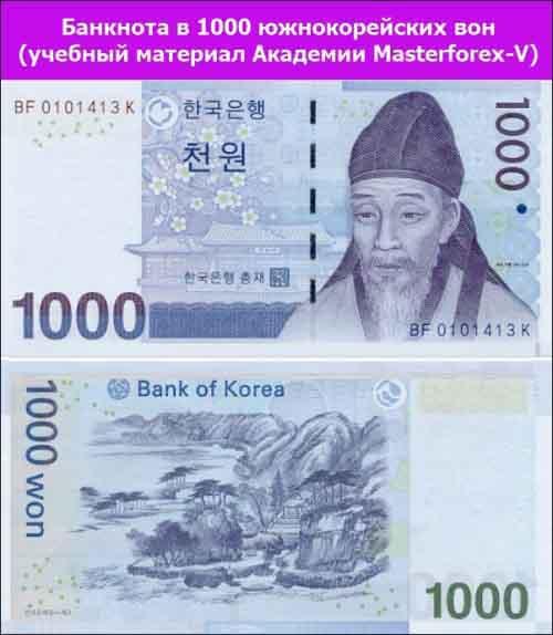 Банкнота 1000 южнокорейских вон
