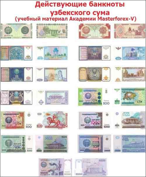 Действующие банкноты узбекских сумов