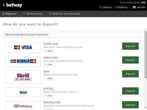 Способы оплаты (платежные системы) Betway