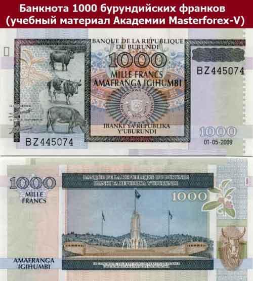 Купюра в 1000 бурундийских франков