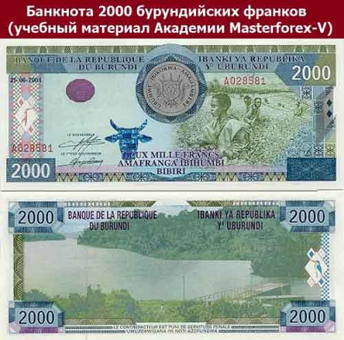 Купюра в 2000 бурундийских франков