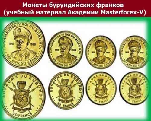 Монеты бурундийского франка