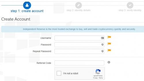 Регистрация на криптобирже Independent Reserve
