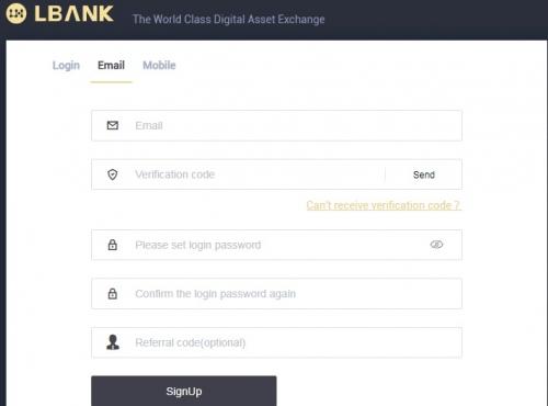 Регистрация на бирже LBank